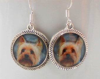 Yorkie Yorkshire Terrier Dog Earrings Puppy Picture  Silver Jewelry 3D Dimensional