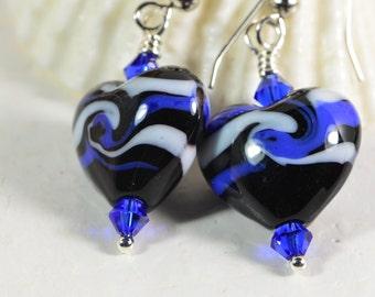 Lampwork Blue Black Swirl Heart Earrings. Dangle Earrings Black and Blue