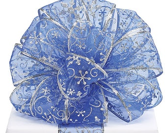 "Ribbon, Sheer Ribbon, 5YDS  Blue SNOWFLAKE 2 1/2"" Wired Edge Ribbon winter  wedding, romantic, beautiful"