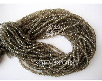 Natural Smoky Quartz 3 mm Micro Faceted Roundels, 13 inch Strand, Smoky Quartz Rondelle Beads (R-QUA-0072)