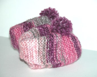 Baby Booties Hand knitted  (multi shades of pink and grey) (Granny Slippers)