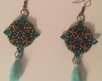 Beadwork Earrings with Tassels