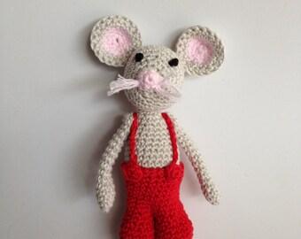Snowman amigurumi mouse Perez children and adults, 100% handmade.