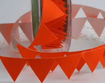 """Orange Banner Stick On Ribbon Trim, 1"""" wide by the yard, Orange Flag Trim, Stick on Ribbon, Adhesive Ribbon, Orange Ribbon, Gift Wrapping"""