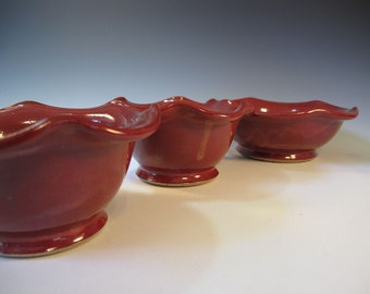 Nesting Serving Bowl Set of Three Red SALE SALE SALE - Handmade Pottery