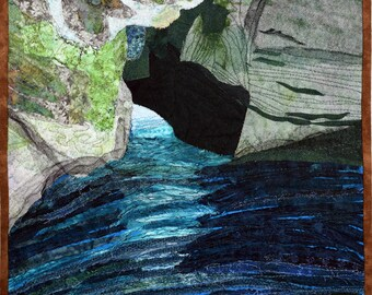 Quilted Landscape Scenes of Israel: Grottoes in the Mediterranean Sea