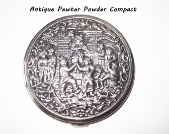 Antique Pewter Face Powder Compact / High Relief Dancing German Peasants Design Compact with Mirror