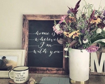 Home is wherever im with you, framed chalkboard sign