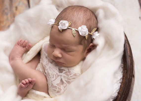 Ivory Stretch Lace Swaddle Wrap AND/OR Matching Flower Headband, bebe foto,  photograph, newborn, paper flower halo by Lil Miss Sweet Pea