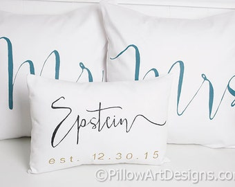 Pillows Mr Mrs Name and Est Date Wedding Pillow Set Custom Personalized Mini Pillow White Cotton Modern Calligraphy Handmade in Canada