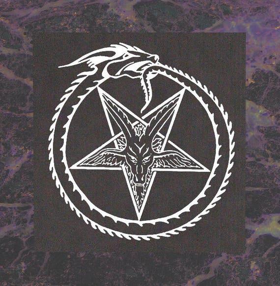Serpent Pentagram Back Patch Satanic Baphomet Goat Skull