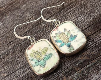 Earrings Ming Qing Chinese porcelain pottery shards sterling silver ear wires