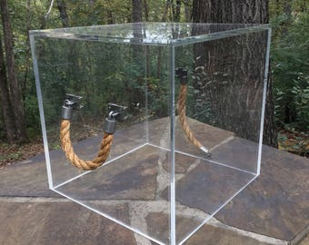 Large Lucite Box Cube with Rope Handles Table
