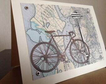 Seattle Bike and Map - Gocco Screen-Printed Greeting Card