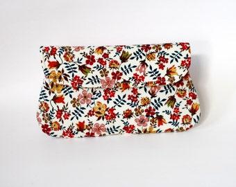 Floral clutch, Bridesmaid gift, bridesmaid clutches, simple cotton clutch, fall wedding clutch