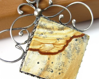 Tiramisu Necklace - Picture Jasper and Sterling Silver