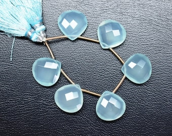 AAA-Calibrated 14mm-3 Matched Pairs-Natural Aqua Blue Chalcedony Faceted Heart Shape Briolette Beads Strand