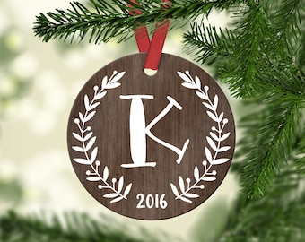 Monogram Ornament Monogram Christmas Ornament Employee Gift Employee Christmas Gifts Coworker Gift Wood Personalized Christmas Ornaments
