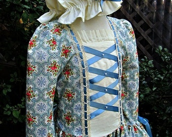 Colonial Dress/ Williamsburg Costume(cluny & ribbon trim) ..(PLEASE check lead time inside ad)