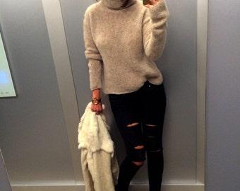 Beige Silk-Alpaca Turtleneck, Cozy Sweater, Silk Sweater, Beige Sweater, Cozy Turtleneck, Fluffy Turtleneck, Sweater