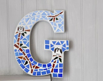 Mosaic - Personalized - Letter G - Nursery Decoration  - Broken China - Recycled Plates -