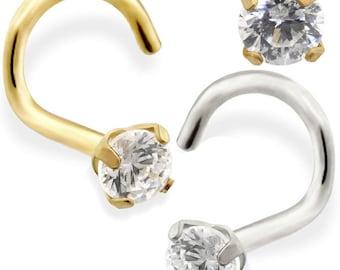14K Gold Nose Screw with 1.5 Genuine Diamond