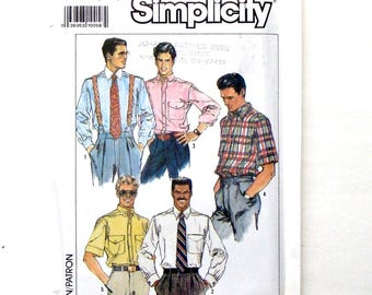 Vintage 80's Simplicity Men's Shirt Sewing Pattern #9592 - UNCUT - Size 42+44+46+48 - Long or Short Sleeves & Collar Variations