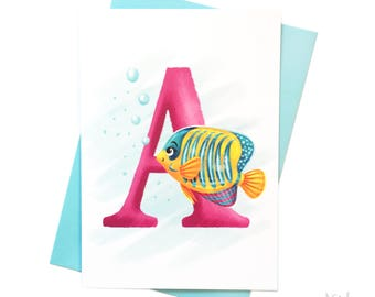 Illustrated - Alphabet - Greeting Card - A is for Angelfish