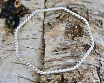 Handmade Silver Wire Bangle - Octagon Shape - Contemporary Jewellery