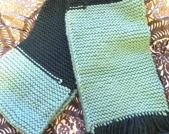 Teal and Blue Handknit Scarf