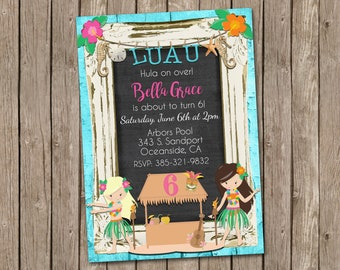 Luau Birthday Invitation with Tiki Hut and Hula Girls -Pool Party- printable 5x7