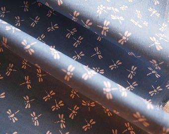 """""""Dragonflies"""" blue 112 * 50 cm cotton velvet fabric"""