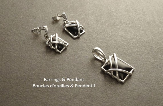 Black, Onyx Silver Set - Square shape Stone - Sterling Silver, Set, 925 - Onyx, Gemstone, Modern Style, Filigree Set, Jewelry, Small, Cute