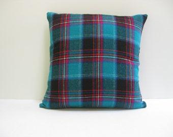 18x18 Aqua Plaid Wool Pillow Cover