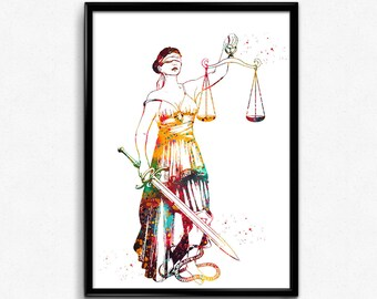 Lady Justice, Watercolor Print ,Scales of Justice Lawyer, Wall Art, Judge Law, Gift (1341)