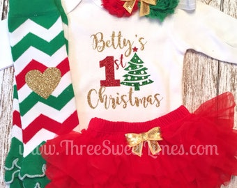 Personalized First Christmas Baby Outfit | My First Christmas | Baby's First Christmas | 1st Christmas Baby Girl Gift Newborn Set Tutu
