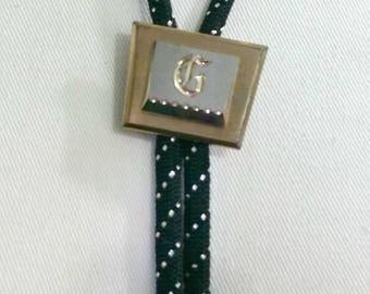 Hickok Bolo,Monogram G Bolo,Bolo Initial G,Black Gold Silver Bolo,Bolo Tie,Hickok Jewelry,Bolo Tie Necklace,Silver Gold Bolo,Bolo Mens Tie