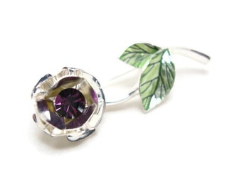 Vintage Avon Amethyst Brooch - Avon Purple Flower Pin - February Birthstone Pin
