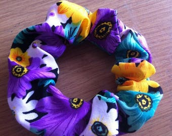 Handmade Scrunchie - Purple, Yellow & Green Floral