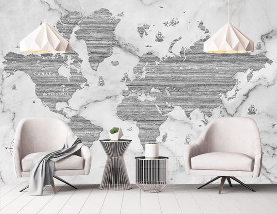 Marble world map removable wallpaper peel stick black white gumiabroncs Choice Image