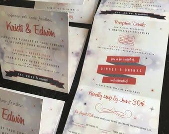 Accordion Fold Invitation Suite | Perforated Mad Lib RSVP Postcard | Folding Invitation |  Wedding Announcement | Wedding Invites | Sparkle