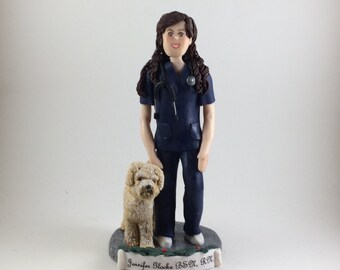 DEPOSIT ONLY  !!  Custom Polymer Clay Christmas Ornament, Nurse figurine, Female Sculpture, Cake Topper