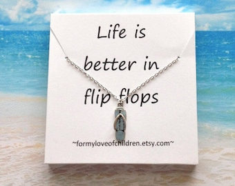 flip flop necklace flip flop jewelry beach jewelry summer necklace birthday gift personalized necklace silver flip flop kids custom jewelry