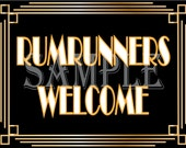 Prohibition Era Sign Rumrunners Welcome Roaring 20s Art Deco Printable Gatsby Party Wedding Centerpiece Speakeasy 1920s Bar Front Door Sign