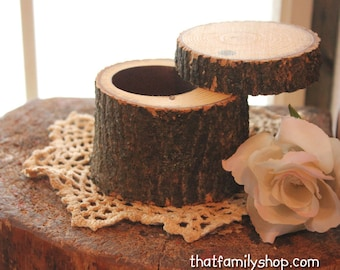 Swivel-Top Rustic Log Jewelry Ring Box with Flocked Felt Interior Gift for Her