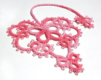 Tatted Bookmark - Tatted Lace Heart Bookmark - Your Color Choice - Made To Order
