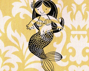 Mermaid Stamp: Wood Mounted Rubber Stamp
