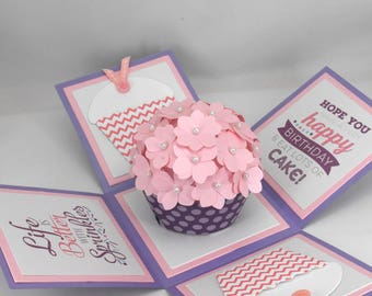 3d birthday card explosion box card with tea light and 3d purple and pink cupcake birthday card explosion box card bookmarktalkfo Gallery