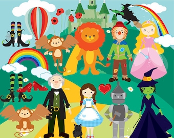 Wizard of Oz clipart - clip art Dorothy scarecrow cowardly lion tin man wicked witch emerald castle rainbows witch shoes ruby flying monkeys