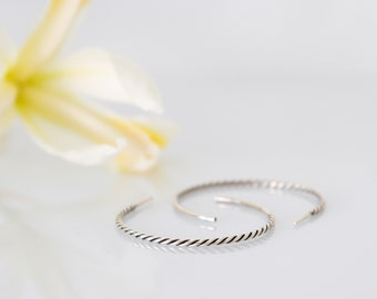 Transition Hoops, Twisted Wire Hoops, Silver Hoops
